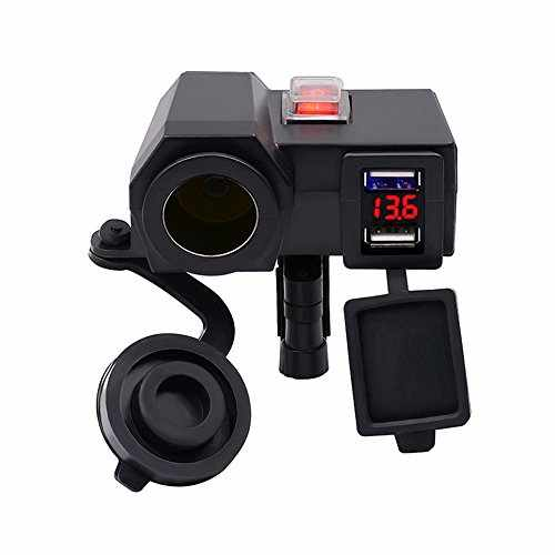 Motorcycle Cigarette Lighter Socket,elecfan 12V 4.2A Dual USB Power Car Charger Outlet Adapter with Waterproof Digital Voltmeter Power Switch Accessories ...